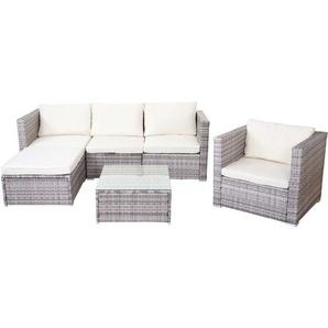 Poly-Rattan-Garnitur Busto, Gartengarnitur Sitzgruppe Sofa Lounge-Set ~ grau, Kissen creme - HHG