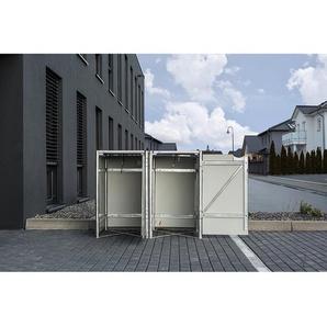 Hide Mülltonnenbox Kunststoff für 2 Tonnen 64 cm x 121 cm x 116 cm Schwarz