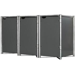 Hide Mülltonnenbox Kunststoff für 3 Tonnen 64 cm x 182 cm x 116 cm Grau