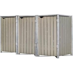 Hide Mülltonnenbox Kunststoff für 3 Tonnen 64 cm x 182 cm x 116 cm Natur-Grau