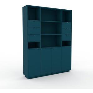 Highboard Marineblau - Highboard: Schubladen in Marineblau & Türen in Marineblau - Hochwertige Materialien - 154 x 200 x 35 cm, Selbst designen