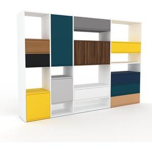 Highboard Weiß - Highboard: Schubladen in Eiche & Türen in Nussbaum - Hochwertige Materialien - 229 x 157 x 35 cm, Selbst designen