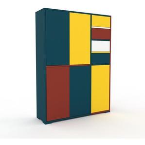 Highboard Blau - Highboard: Schubladen in Weiß & Türen in Blau - Hochwertige Materialien - 116 x 158 x 35 cm, Selbst designen