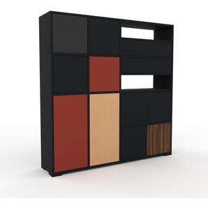 Highboard Schwarz - Highboard: Schubladen in Schwarz & Türen in Schwarz - Hochwertige Materialien - 154 x 158 x 35 cm, Selbst designen