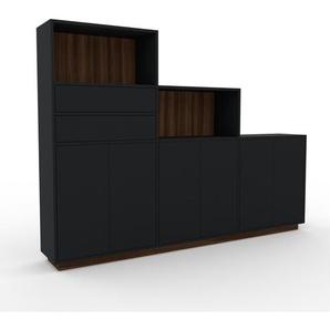 Highboard Schwarz - Highboard: Schubladen in Schwarz & Türen in Schwarz - Hochwertige Materialien - 226 x 162 x 35 cm, Selbst designen