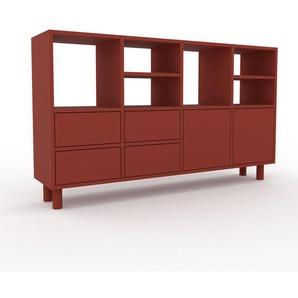 Highboard Rot - Highboard: Schubladen in Rot & Türen in Rot - Hochwertige Materialien - 156 x 91 x 35 cm, Selbst designen