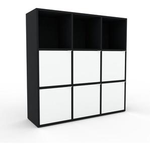 Highboard Schwarz - Elegantes Highboard: Türen in Weiß - Hochwertige Materialien - 118 x 118 x 35 cm, Selbst designen