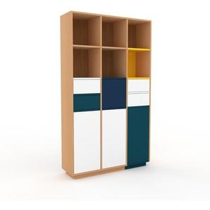 Highboard Buche - Highboard: Schubladen in Weiß & Türen in Weiß - Hochwertige Materialien - 118 x 200 x 35 cm, Selbst designen