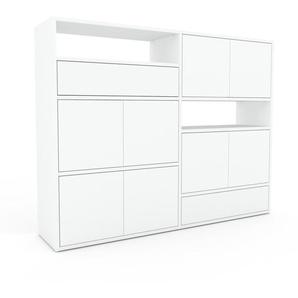 Highboard Weiß - Highboard: Schubladen in Weiß & Türen in Weiß - Hochwertige Materialien - 152 x 118 x 35 cm, Selbst designen