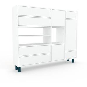 Highboard Weiß - Highboard: Schubladen in Weiß & Türen in Weiß - Hochwertige Materialien - 154 x 130 x 35 cm, Selbst designen