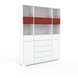 Highboard Weiß - Highboard: Schubladen in Weiß & Türen in Weiß - Hochwertige Materialien - 154 x 196 x 35 cm, Selbst designen