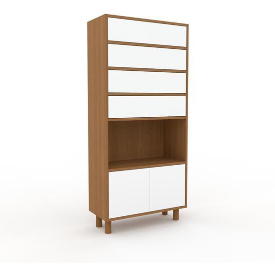 Highboard Weiß - Highboard: Schubladen in Weiß & Türen in Weiß - Hochwertige Materialien - 77 x 168 x 35 cm, Selbst designen