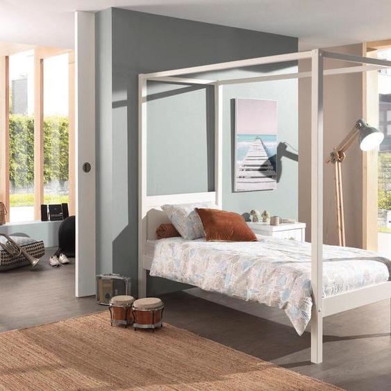 Himmel-Bett, FSC®-zertifiziert, weiß, Material Kiefer, Vipack