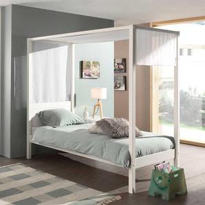 Himmel Bett in Weiß Kiefer Massivholz
