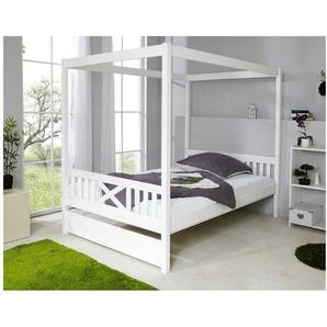 Himmelbett 140x200 cm Lino Kiefer massiv Weiß