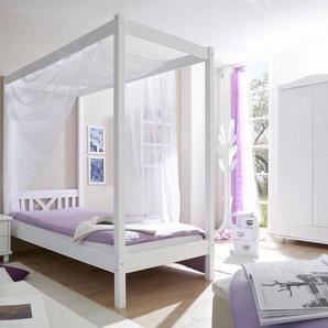 Einzel-/Himmelbett, weiß, Liegefläche 90/200cm, »LaLuna«, FSC®-zertifiziert, Ticaa