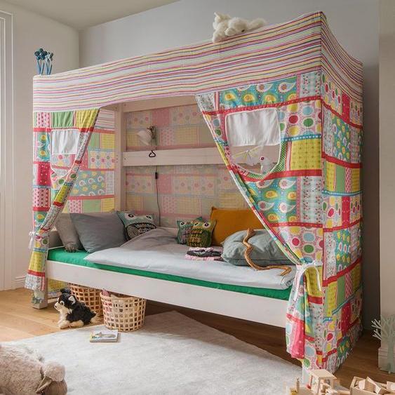 Himmelbett Kids Dreams, weiß mit Holzstruktur, 90x200 cm