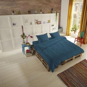 hip Bettwäsche Hip Uni, in schönen Unifarben B/L: 135 cm x 200 (1 St.), 80 Satin blau 135x200 nach Größe Bettwäsche, Bettlaken und Betttücher