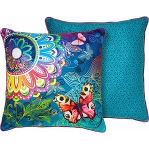 Dekokissen »Parada«, hip, mit Schmetterlingen und Mandalas