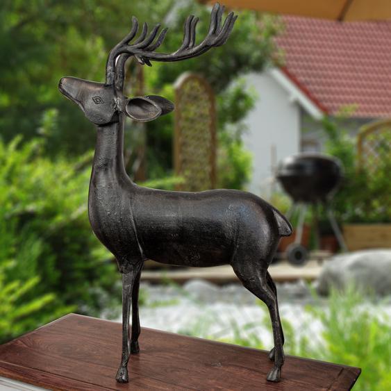 Hirsch Skulptur,  Aluminiumfigur, Schwarz-grau, Tiere, Tierfiguren, Dekoration