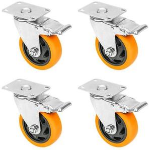 HMF Schwerlastrolle »6710«, (Set, 4 Stück), Transportrollen, Lenkrollen mit Bremse aus Polyurethan, 100 mm, bis 460 kg, Orange