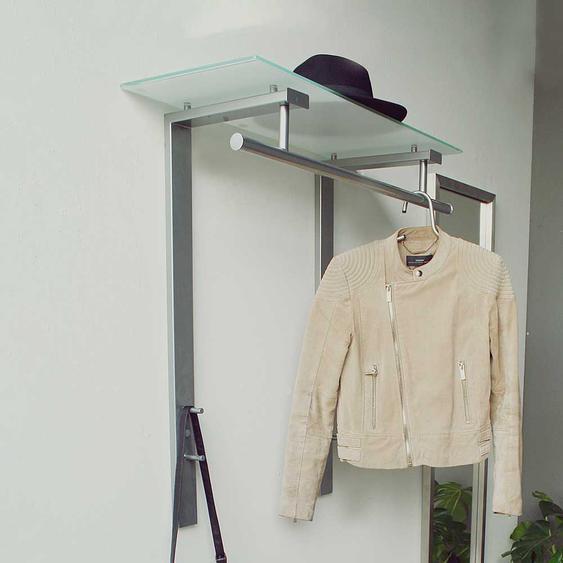 H�ngegarderobe mit Glas-Hutablage Stahl in Nickelfarben