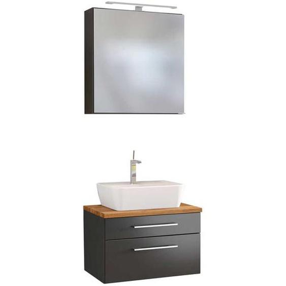 Hängende Badmöbel in dunkel Grau und Wildeiche Dekor LED Beleuchtung (2-teilig)