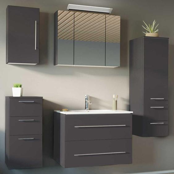 H�ngendes Badezimmer Set in Anthrazit Made in Germany (5-teilig)