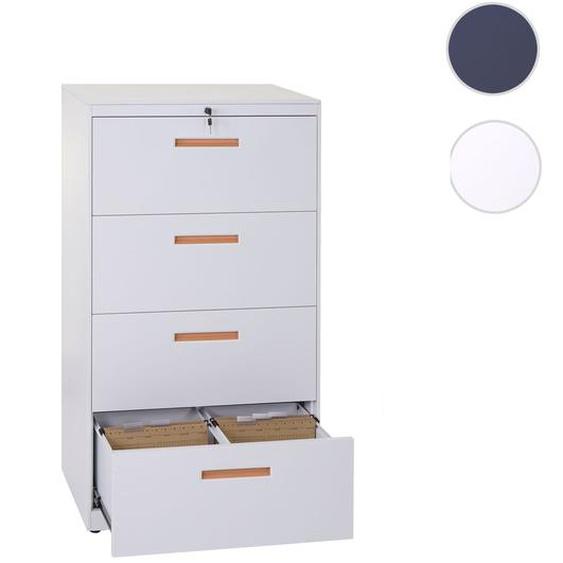H�ngeregisterschrank HWC-A10, Aktenschrank B�roschrank Stahlschrank, A4 abschlie�bar ~ 132x76x46cm wei�