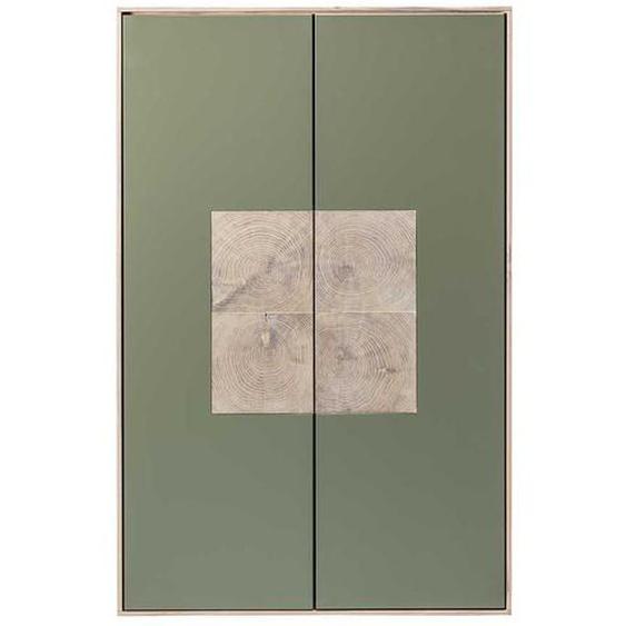 Hängeschrank in Beton Grau und Buche weiß geölt 80 cm breit