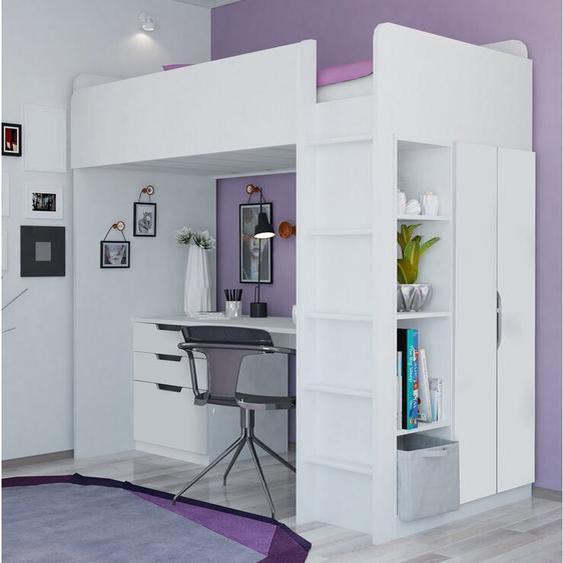 Hochbett Amarion mit Bücherregal und Schreibtisch, 90 x 200 cm