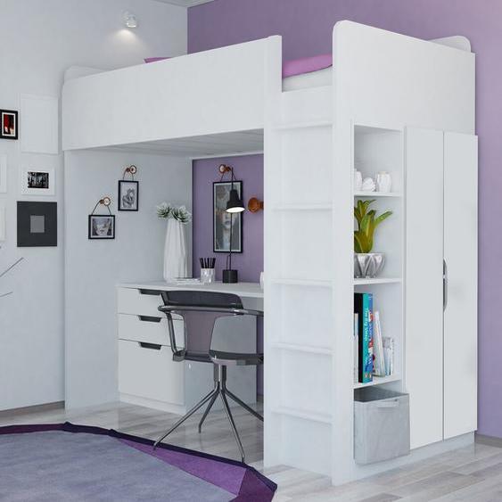 Hochbett Amarion mit Möbel-Set, 90 x 200 cm