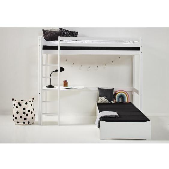 Hochbett Basic mit Ausziehbett und Schreibtisch, 90 x 200 cm