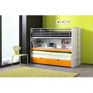 Hochbett BONNY-12, mit Schreibtisch, 2-ter Liegefläche und Bettkasten, 90x200cm, Weiß Orange