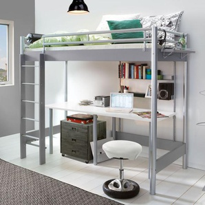 Metall-Hochbett für Studenten in 120x200 cm silber - Jan