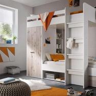 Hochbett mit 2 Liegeflächen in weiß mit Absetzungen in Sandeiche-Nachbildung, inkl. Kleiderschrank, Liegefläche ca. 90 x 200 cm  i
