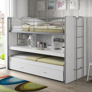 Hochbett mit Ablagen, Schreibtisch und Ausziehbett, 90 x 200 cm