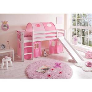Hochbett mit Rutsche Pink