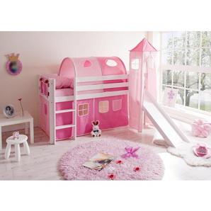Hochbett mit Rutsche und Turm Kiefer Weiß 90 cm x 200 cm Rosa-Pink