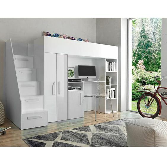 Hochbett mit Schubladen, Bücherregal, Schreibtisch und Kleiderschrank, 90 x 200 cm