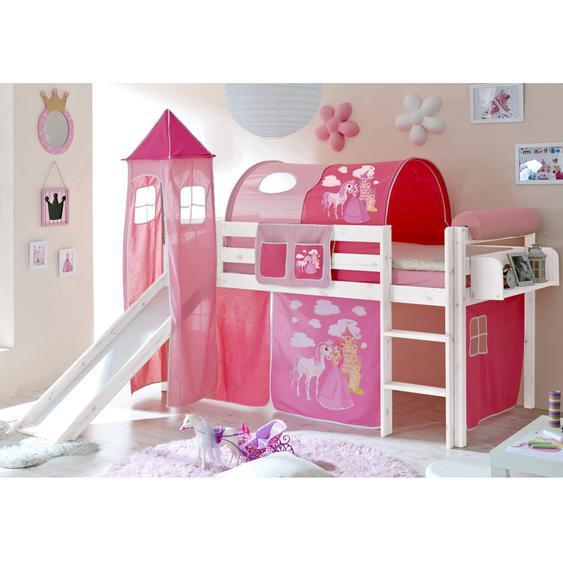 Hochbett mit Turm und Rutsche Kasper Kiefer Weiß inkl. Vorhang Horse Pink
