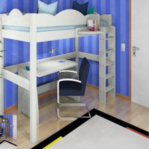 Hochbett TIM Wolke Dahlhaus Kiefer, H169cm, weiß, natur, schwarz, blau, gelaugt