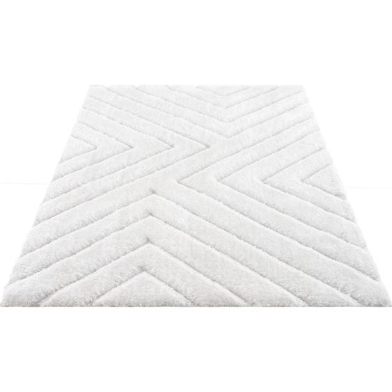 Hochflor-Teppich, Fiori, andas, rechteckig, Höhe 43 mm, maschinell gewebt 8, 280x380 cm, mm weiß Shaggy-Teppiche Hochflor-Teppiche Teppiche