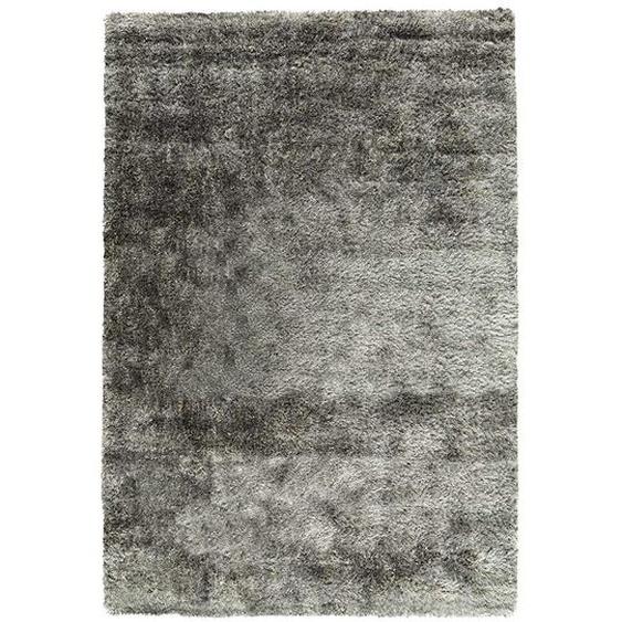 Hochflor Teppich in Grau modern