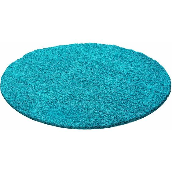 Hochflor-Teppich, Life Shaggy 1500, Ayyildiz, rund, Höhe 30 mm, maschinell gewebt 41 (Ø 120 cm), mm blau Schlafzimmerteppiche Teppiche nach Räumen