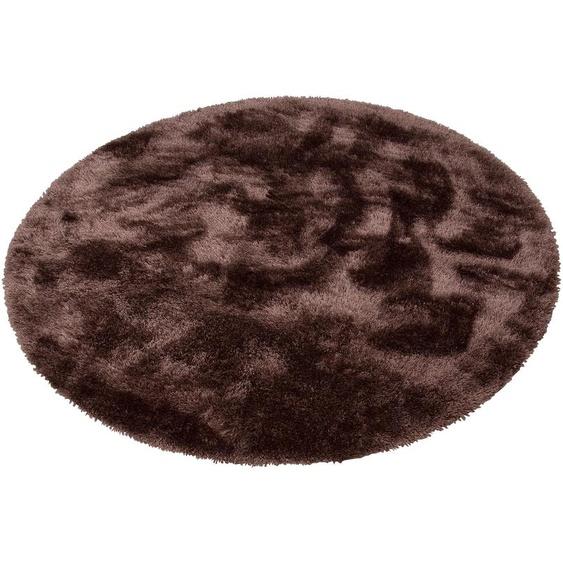 Hochflor-Teppich, Mikro Soft Super, my home, rund, Höhe 50 mm, maschinell gewebt 9 (Ø 140 cm), mm braun Kinder Bunte Kinderteppiche Teppiche