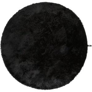 Hochflorteppich Whisper Schwarz ø 160 cm rund