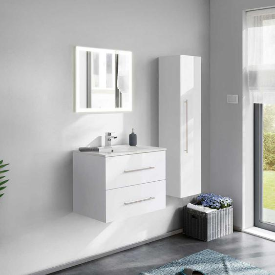 Hochglanz Badezimmer Set in Wei� LED Beleuchtung (3-teilig)
