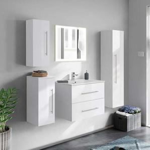 Hochglanz Badezimmer Set in Wei� LED Beleuchtung (5-teilig)