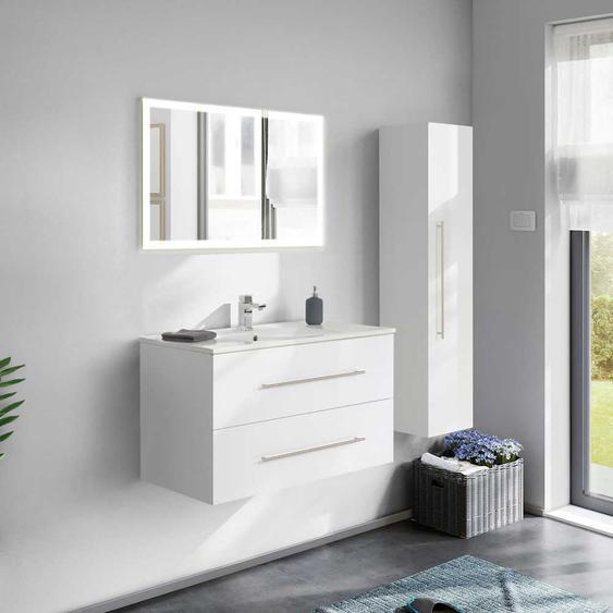 Hochglanz Badezimmer Set in Weiß Made in Germany (3-teilig)